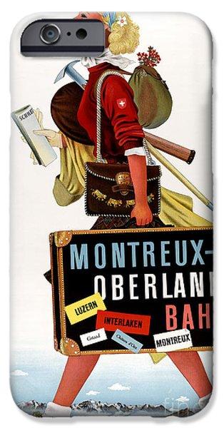 Swiss Mixed Media iPhone Cases - Switzerland Vintage Travel Poster iPhone Case by Carsten Reisinger