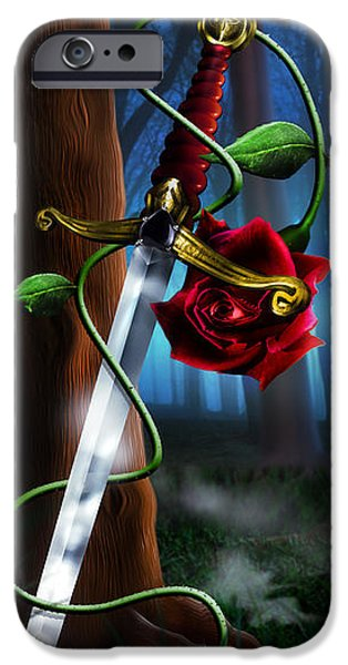 Fog Mist iPhone Cases - Sword and Rose iPhone Case by Alessandro Della Pietra