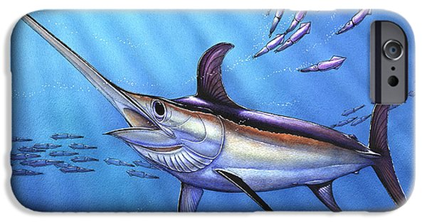 Sailfish Paintings iPhone Cases - Swordfish in Freedom iPhone Case by Terry  Fox