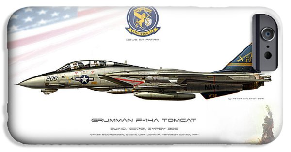 Marine iPhone Cases - Swordsmen Tomcat Double Nuts Profile iPhone Case by Peter Van Stigt