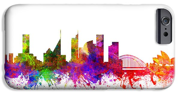 Australia Drawings iPhone Cases - Sydney Australia Cityscape 02 iPhone Case by Aged Pixel