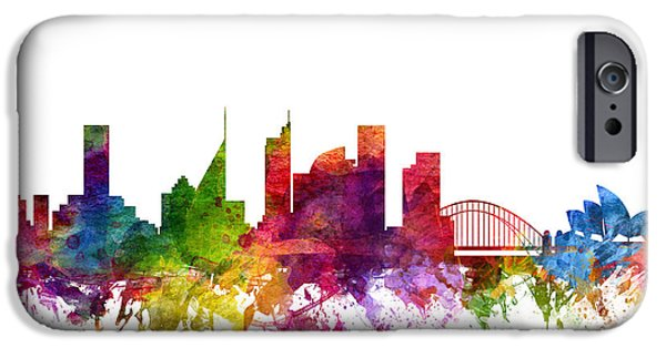 Australia Drawings iPhone Cases - Sydney Australia Cityscape 06 iPhone Case by Aged Pixel