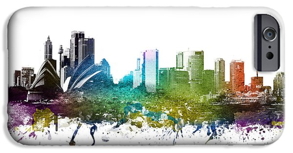 Australia Drawings iPhone Cases - Sydney cityscape 01 iPhone Case by Aged Pixel