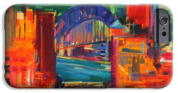 Business Paintings iPhone Cases - Sydney Harbour Bridge iPhone Case by Peter Graham