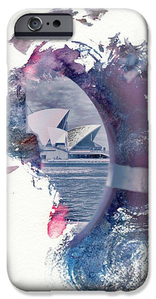 Abstract Digital Art iPhone Cases - Sydney Opera House Abstract iPhone Case by Az Jackson