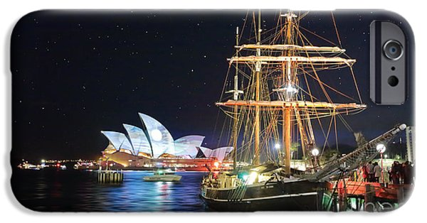 Tall Ship iPhone Cases - Sydney Opera House and Southern Swan during vivid Sydney Festiv iPhone Case by Leah-Anne Thompson