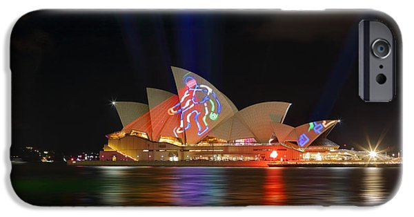 Figures iPhone Cases - Sydney Opera House during Vivid Sydney Annual Festival iPhone Case by Leah-Anne Thompson