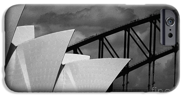 House iPhone Cases - Sydney Opera House with Harbour Bridge iPhone Case by Sheila Smart