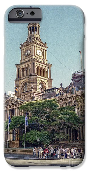 Hall Pyrography iPhone Cases - Sydney  Town Hall  iPhone Case by Nicholas  Allaniaris