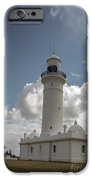 Safety Pyrography iPhone Cases - Sydney Vaucluse lighthouse iPhone Case by Nicholas  Allaniaris