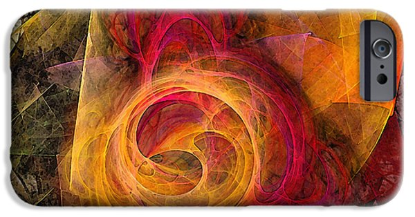 Contemplative iPhone Cases - Symbiosis Abstract Art iPhone Case by Karin Kuhlmann