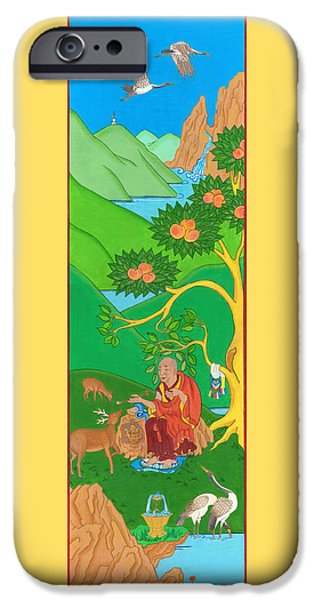 Tibetan Buddhism iPhone Cases - Symbols of Long Life iPhone Case by Berty Sieverding