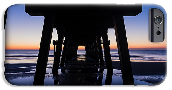 Tybee Island Pier iPhone Cases - Symmetrical Sunrise Tybee Island Pier Georgia iPhone Case by Dawna  Moore Photography