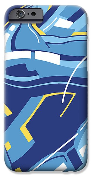 Abstract Digital Drawings iPhone Cases - Symphony in Blue - movement 4 - 3 iPhone Case by David Hargreaves