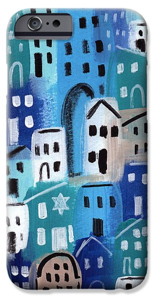 Town iPhone Cases - Synagogue- City Stories iPhone Case by Linda Woods