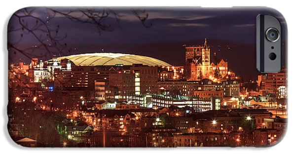 Carrier iPhone Cases - Syracuse Dome at night iPhone Case by Everet Regal