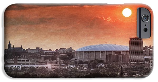 University iPhone Cases - Syracuse Sunrise over the Dome iPhone Case by Everet Regal