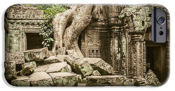 Buddhist iPhone Cases - Ta Prohm temple Siem Reap iPhone Case by Chas Hauxby