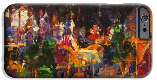 Waiter Paintings iPhone Cases - Table at Villefranche iPhone Case by Peter Graham