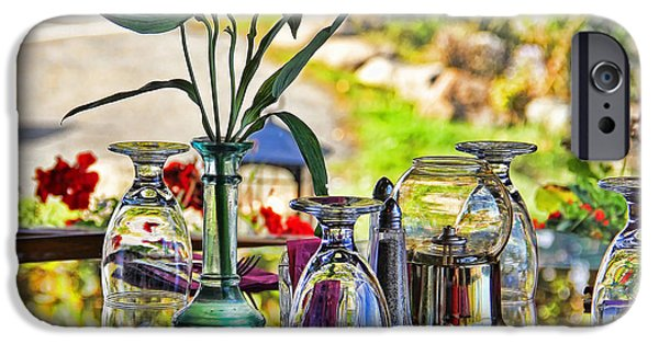 Table Wine iPhone Cases - Table Setting Reflections signed 3041 18x24 iPhone Case by Jack Schultz