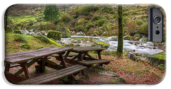 Fall Scenes iPhone Cases - Tables by the River iPhone Case by Carlos Caetano