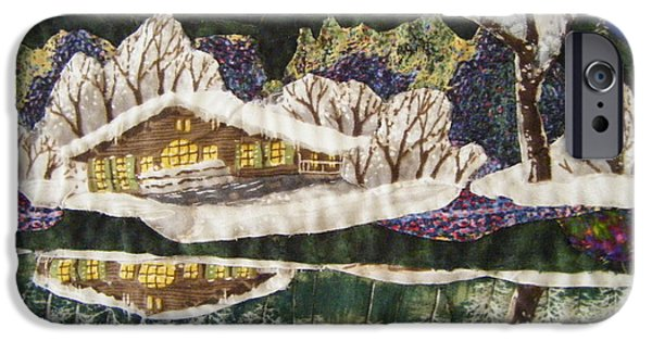 Snow Tapestries - Textiles iPhone Cases - Tahoe Cabin iPhone Case by Shirley Goss