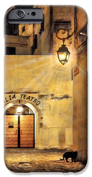 Night Lamp iPhone Cases - Talia Teatro.Matera.Italy iPhone Case by Jennie Breeze