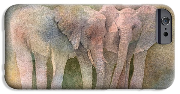 Elephant iPhone Cases - Talking It Over iPhone Case by Arline Wagner