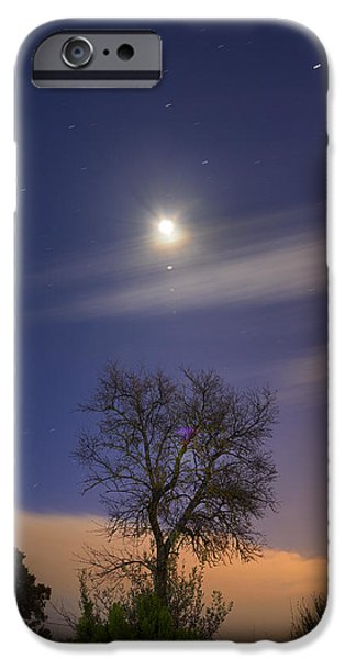 Blue Mountains Red iPhone Cases - Talking to the Moon iPhone Case by Guido Montanes Castillo