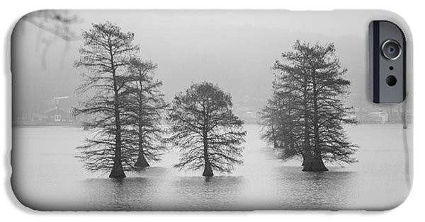 Fog Mist iPhone Cases - Tall Old Trees In The Middle Of Lake In Fog iPhone Case by Alexandr Grichenko