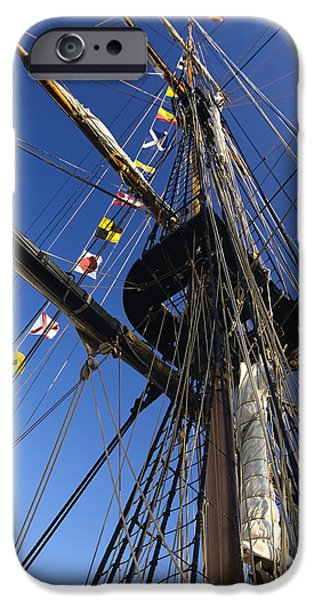 Tall Ship iPhone Cases - Tall ship flags and rigging iPhone Case by Sven Brogren