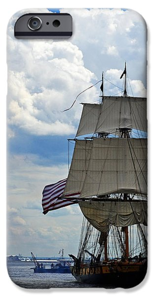 Pirate Ship iPhone Cases - Tall ship in Lake Superior iPhone Case by Sydney Thompson