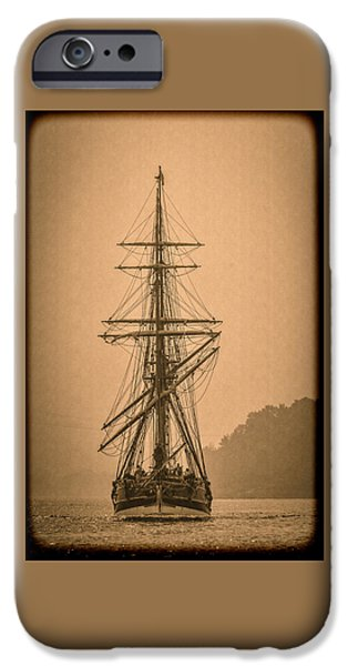 Pirate Ships iPhone Cases - Tall Ship Landing D9892 iPhone Case by Wes and Dotty Weber