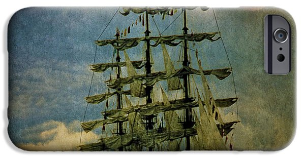 Tall Ship Digital Art iPhone Cases - Tall Ship New York Harbor 1976 iPhone Case by Chris Lord