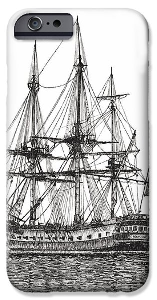 Yorktown Drawings iPhone Cases - Tall Ship LHermione on the York River iPhone Case by Stephany Elsworth