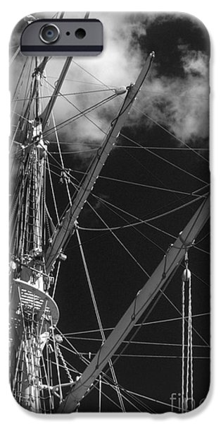 Sailing iPhone Cases - Tall Ship Rigging Black and White iPhone Case by Tom Gari Gallery-Three-Photography