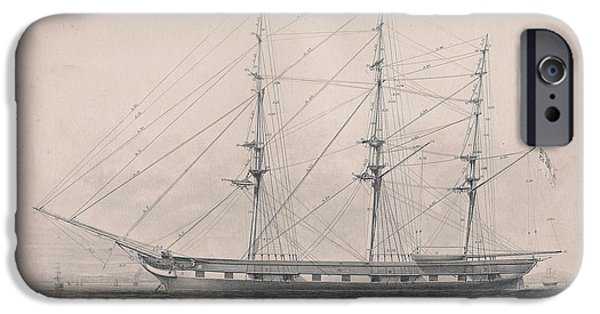 Pirate Ship Drawings iPhone Cases - Tall Ship Rigging iPhone Case by Victorian Engraver