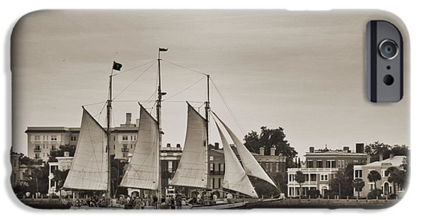 Tall Ship Digital iPhone Cases - Tall Ship Schooner Pride off the Historic Charleston Battery iPhone Case by Dustin K Ryan
