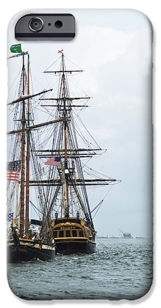 Tall Ship iPhone Cases - Tall Ships HMS Bounty and Privateer Lynx at Peanut Island Florida iPhone Case by Michelle Wiarda