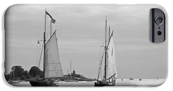 Tall Ship iPhone Cases - Tall Ships Sailing I in black and white iPhone Case by Suzanne Gaff