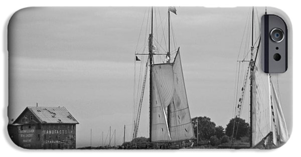 Tall Ship iPhone Cases - Tall Ships Sailing II in black and white iPhone Case by Suzanne Gaff