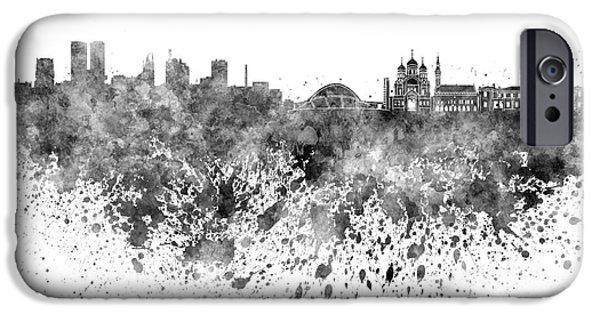 Tallinn iPhone Cases - Tallinn skyline in black watercolor on white background iPhone Case by Pablo Romero