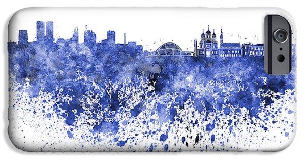 Tallinn iPhone Cases - Tallinn skyline in blue watercolor on white background iPhone Case by Pablo Romero