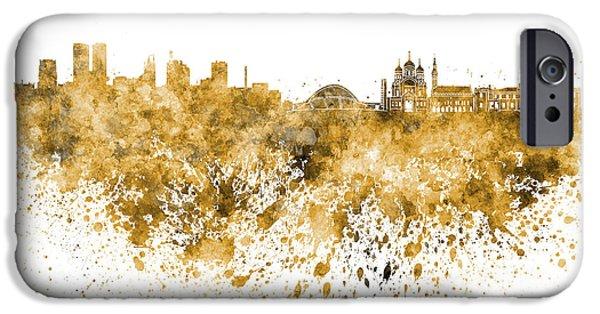 Tallinn iPhone Cases - Tallinn skyline in orange watercolor on white background iPhone Case by Pablo Romero