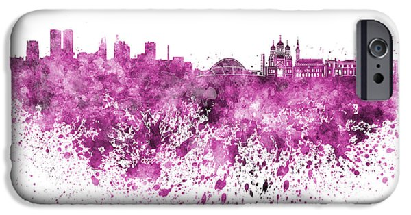 Tallinn iPhone Cases - Tallinn skyline in pink watercolor on white background iPhone Case by Pablo Romero