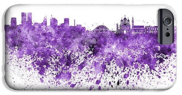Tallinn iPhone Cases - Tallinn skyline in purple watercolor on white background iPhone Case by Pablo Romero