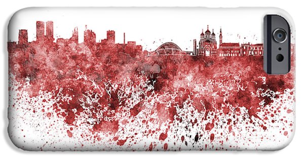 Tallinn iPhone Cases - Tallinn skyline in red watercolor on white background iPhone Case by Pablo Romero