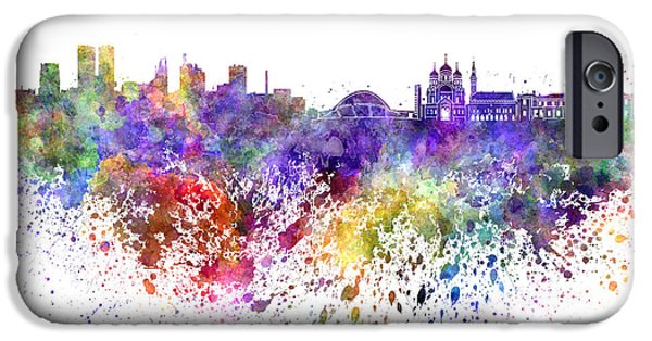 Tallinn iPhone Cases - Tallinn skyline in watercolor on white background iPhone Case by Pablo Romero