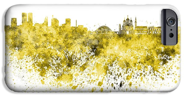Tallinn iPhone Cases - Tallinn skyline in yellow watercolor on white background iPhone Case by Pablo Romero