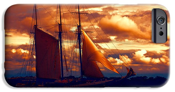 Turbulent Skies iPhone Cases - Tallship - Moody Blues and Powerful Oranges iPhone Case by Georgia Mizuleva